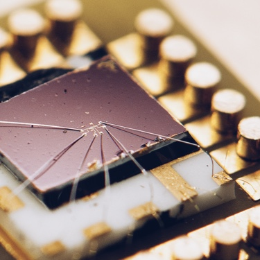 Macro shot of a bonded micro electronics chip